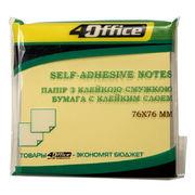 Папір з липким шаром 76х76 мм жовтий 4Office 4-423-5