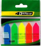 Стікери закладки офісні пластикові неонові стріла 5 кольорів 20 аркушів 44х12 мм 4office 4-426