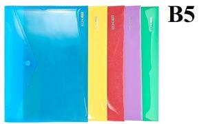 Папка конверт В5 мікс кольорів 180 мкм глянсова фактура на кнопці Economix E31302
