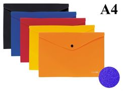 Папка конверт А4 мікс кольорів 180 мкм матова фактура на кнопці Economix E31305-50