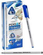Ручка масляна Pensan Triball. Пишучий вузол - 1.0 мм.  Тригранна. Без змінного стрижня. Колір чорнила: синій EN 71
