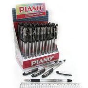 Ручка масляна чорна 0.7 мм з гумовим тримачем Soft Piano PT-197