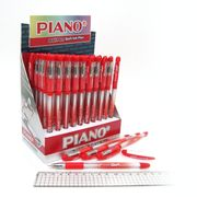 Ручка масляна червона 0.7 мм з гумовим тримачем Soft Piano PT-197