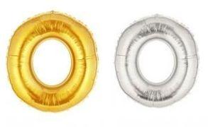 Куля фольгова 32(81 см) золото і срібло цифра 0