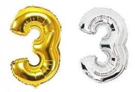 Куля фольгова 32(81 см) золото і срібло цифра 3