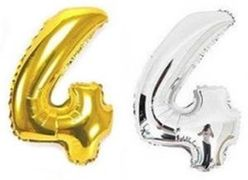 Куля фольгова 32(81 см) золото і срібло цифра 4