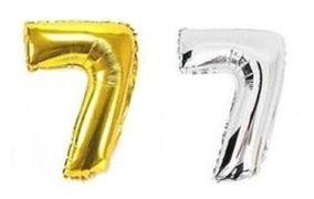 Куля фольгова 32(81 см) золото і срібло цифра 7