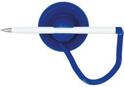Ручка кулькова синя 0.5 мм на підставці з біло-синім корпусом Post Pen Economix E10118-02