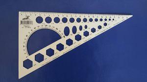 Трикутник 25 см білий + транспортир и геометричні фігури (100)