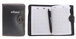 Блокнот А7 68 аркушів білий папір в клітинку прошивний шкіряна м'яка обкладинка на кнопці з ручкою Leader 118312