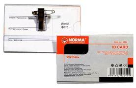 бедж пластик, 5,5 х 9см,з кліпом та шпилькою, 300 мкм, 4324, NORMA 04140120 (50/2000)
