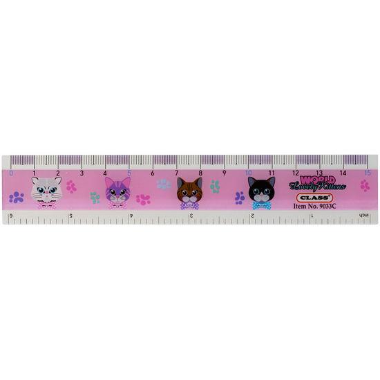 Лінійка пластикова, 15 см, з принтом Lovely Kitties в блістері, 9033C, CLASS 10010700 (12/144/144)