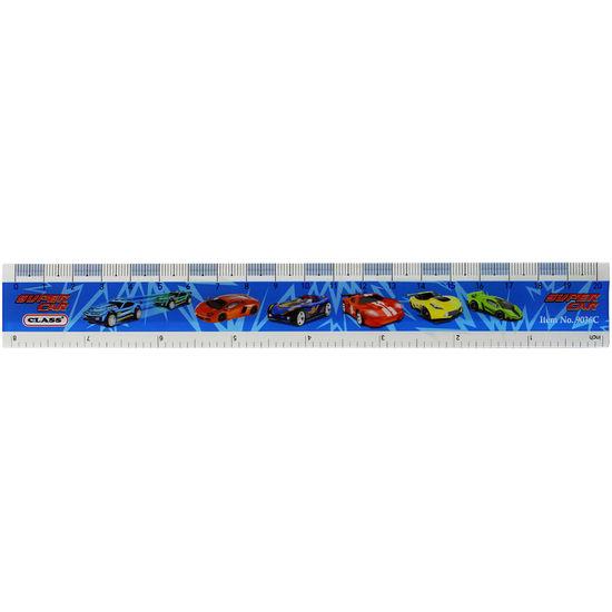 Лінійка пластикова, 20 см, з принтом Super Car в блістері, 9036C, CLASS 10010750 (12/144/144)