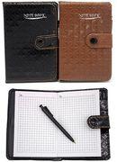 Блокнот А7 58 аркушів білий папір в клітинку прошивний шкіряна м'яка обкладинка з ручкою на кнопці Leader 1511