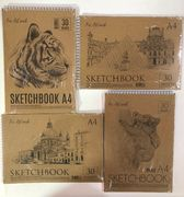Альбом для малювання (30л 190гр м2) А4 SketchbookТетрада крафт верх пружині 12066(1/10)