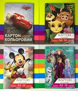 Картон кольоровий А4  (14л) 14 кольорів Disney Тетрада 12047 (25)