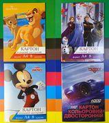 Картон кольоровий А4  (8л) 8 кольорів двосторонній Disney Тетрада 12048 (20)
