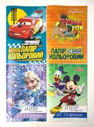Папір кольоровий А4 односторонній 14 аркушів 14 кольорів Disney Тетрада ТЕ12050