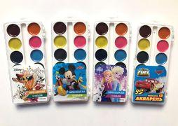 Акварельні фарби 12 кольорів, пластиков упаковка Disney Тетрада ТЕ12124