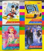 Картон цветной односторонний А4, 12 листов 12 цветов. В картонной папке. Disney Тетрада ТЕ13001