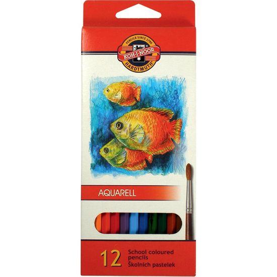 Олівці кольорові акварельні MONDELUZ Рибки, 12 кольорів, картонна упаковка 3716_p (1)