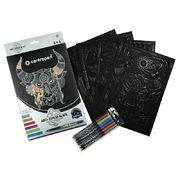 Розмальовка на чорному папері 4 аркуша A4, 6 маркерів 1 мм 9390 (1)