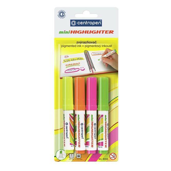 Набір маркерів Fax 8052, для виділення тексту на всіх видах паперу, на водній основі, компактний міні-розмір, 4 кольори (жовтий, оранжевий, рожевий, зелений), клиноп. пишучий вузол, ширина лінії 1-4,6