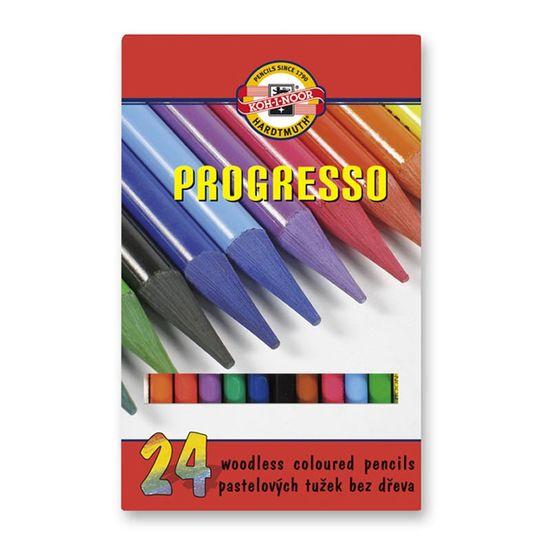 Кольорові бездеревні художні олівці PROGRESSO, 24 кольори. Картонна упаковка з пластиковим піддоном. 875802 (1)