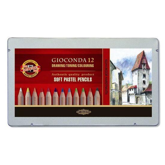 Пастельні олівці KOH-I-NOOR GIOCONDA 8872, 12 кольорів, металева упаковка 8827012005PL (1)