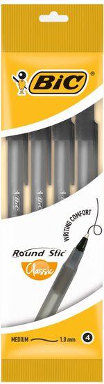 Ручка Round Stic, черная, 4шт в блистере bc944177 (1/4/20)