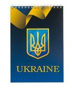 Блокнот на пружині зверху UKRAINE, А-5, 48л., клітка, картонна обкладинка, синій BM.24545104-02 (1/10)