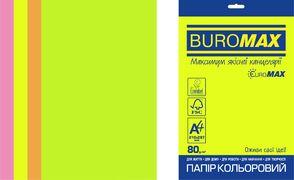 Папір кольоровий Euromax 80г/м2, NEON, 4 кольора, 50арк. BM.2721550E-99 (1/100)