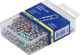 Скріпки кольорові  зебра, 28мм, 100 шт., пласт.контейнер BM.5071 (1/10/360/8)