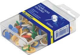 Кнопки кольорові, 100 шт., пласт.покр., пласт.контейнер BM.5176 (1/10/360/8)
