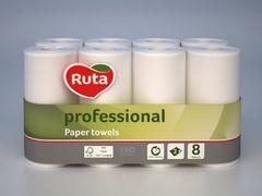 Рушники паперові RUTA Professional, 8 рул., на гільзі, 2 шар., білі rt.93639 (1/4)