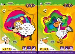 /Картон кольоровий, А4, 7 кольорів - 14 аркушів, 230г/м2, KIDS Line ZB.1951 (1/20/2800)