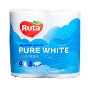 / Папір туал. Pure White 4 рул., На гільзі, 3-х сл., Білий RUTA rt.47531 (1/14)