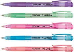 Ручка кулькова автомат. ECONOMIX PLUTON 0,5 мм. Корпус асорті, пише синім E10101-25 (50)
