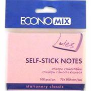 Блок для нотаток з клейким шаром 75х100 мм Economix, 100 арк., рожевий E20933-09 (12)