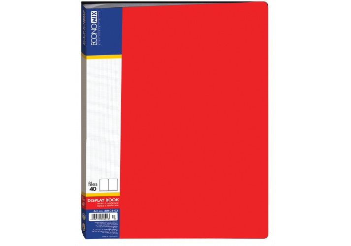 Папка пластикова з 40 файлами, червона E30604-03 (1)