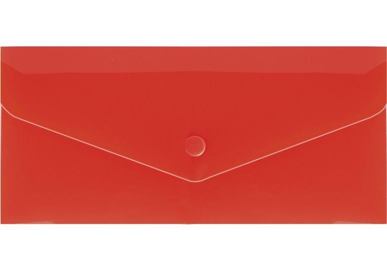 Евроконверт Е65 прозрачный на кнопке, 180 мкм, фактура глянец, ст., красный E31306-03 (10)