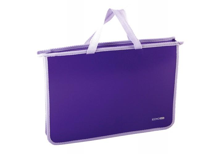 Портфель пластиковий А4 Economix на блискавці, 2 відділення, бузковий E31630-12 (1)