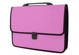 Портфель пластиковий A4 Economix  на застібці, 1 відділення, фактура Вишиванка, рожевий E31641-09 (1)