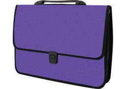 Портфель пластиковий A4 Economix  на застібці, 1 відділення, фактура Вишиванка, фіолетовий E31641-12 (1)