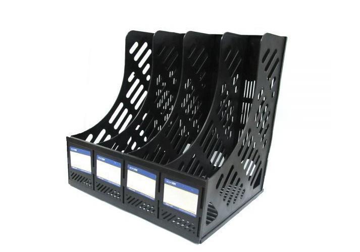 Лоток вертикальний збірний Economix, 4 відділа,  чорний E31902-01 (1)