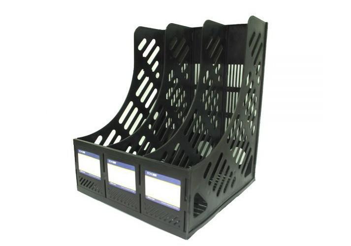 Лоток вертикальний збірний Economix, 3 відділа,  чорний E31903-01 (1)