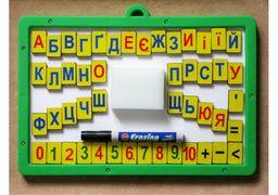 Магнітна дошка з набором магн. цифр, знаків та літер,  губка, маркер E81212 (1)