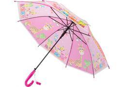 Зонт детский трость автомат Economix JOLLY ZOO, розовый E98426 (1)