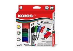 Набір маркерів з губкою для білих дошок KORES 2-3 мм, 4 кольори в блістері K20863 (1)