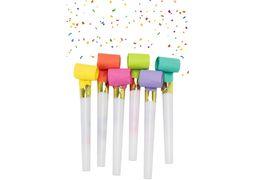 Набір з 6 язиків-гудків для свисту з конфетті, розмір 2,7х30 см, кольори асорті MX141 (1)